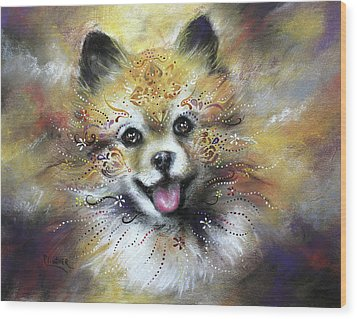 Pomeranian Wood Print by Patricia Lintner