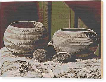 Pomo Baskets And Magnesite Beads Wood Print by Padre Art