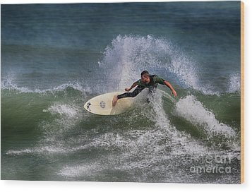 Wood Print featuring the photograph Ponce Surfer 2017 by Deborah Benoit