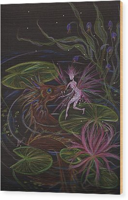 Wood Print featuring the drawing Pond Dragon by Dawn Fairies