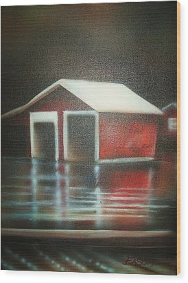 Pond House Wood Print by Scott Easom