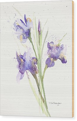 Pond Iris Wood Print by Sandra Strohschein