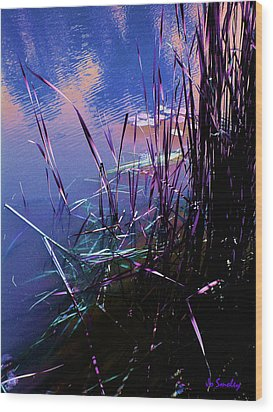 Pond Reeds At Sunset Wood Print by Joanne Smoley