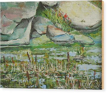 Wood Print featuring the painting Pond Shadows And Reflections by Dan Whittemore