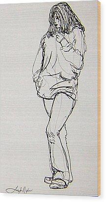 Pondering Wood Print by Lee Nixon