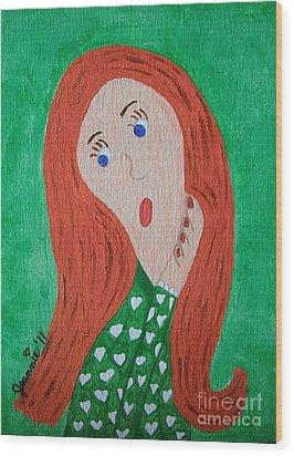Pondering Redhead Wood Print by Jeannie Atwater Jordan Allen