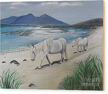 Ponies Of Muck- Painting Wood Print