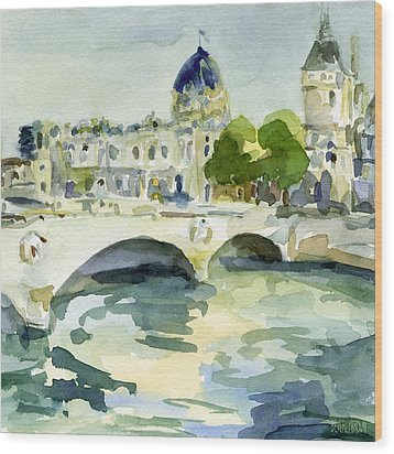 Pont De Change Watercolor Paintings Of Paris Wood Print