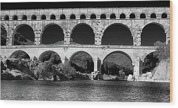 Wood Print featuring the photograph Pont Du Gard Panorama by Richard Goodrich