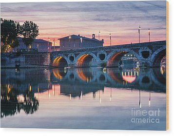 Wood Print featuring the photograph Pont Neuf In Toulouse At Sunset by Elena Elisseeva