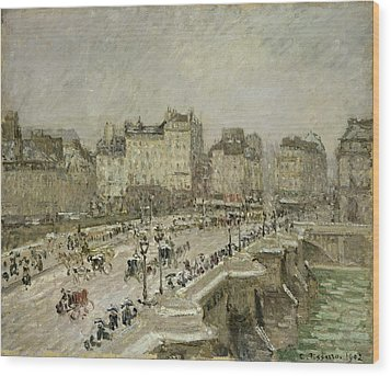 Pont Neuf Snow Effect Wood Print by Camille Pissarro