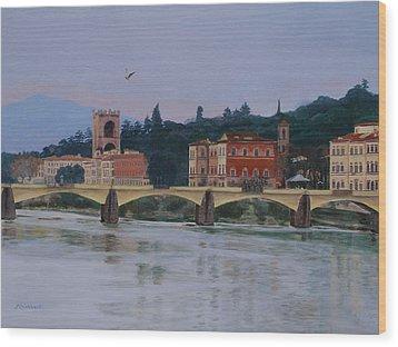 Pont Vecchio Landscape Wood Print by Lynne Reichhart