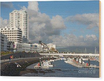 Ponta Delgada Waterfront Wood Print by Gaspar Avila