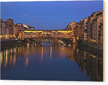 Ponte Vecchio Dusk  Wood Print by Harry Spitz