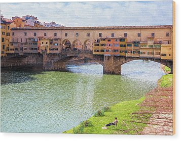 Wood Print featuring the photograph Ponte Vecchio Florence Italy II Painterly by Joan Carroll