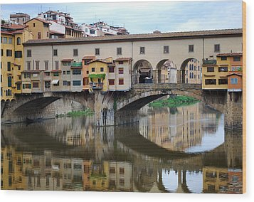 Ponte Vecchio Reflects. Wood Print by Terence Davis