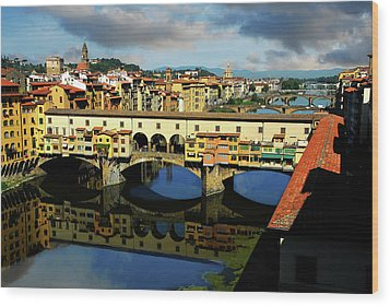 Ponte Vecchio View  Wood Print by Harry Spitz