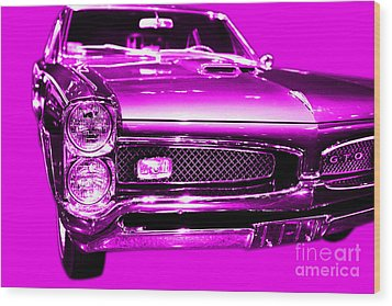 Pontiac Gto Magenta Wood Print by Wingsdomain Art and Photography