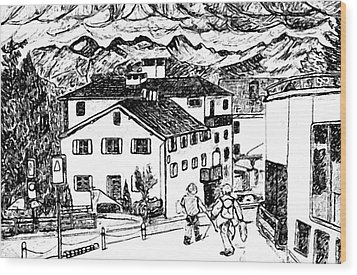 Pontresina Switzerland Wood Print by Monica Engeler