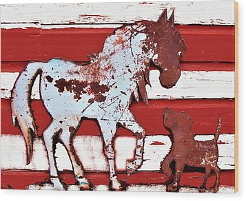 Wood Print featuring the photograph Pony And Pup by Larry Campbell