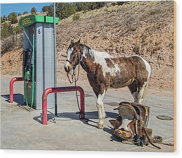 Wood Print featuring the photograph Pony At The Pump by Britt Runyon