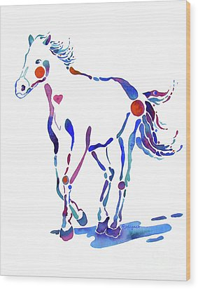 Pony Canter With Love Wood Print by Jo Lynch