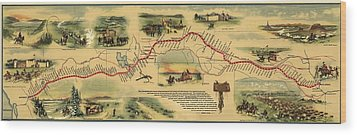 Pony Express Route April 1860 - October Wood Print by Everett