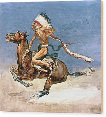 Pony War Dance Wood Print by Frederic Remington