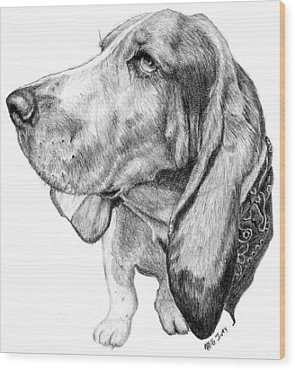 Wood Print featuring the drawing Pooch by Mike Ivey