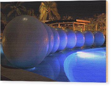 Wood Print featuring the photograph Pool Balls At Night by Shane Bechler