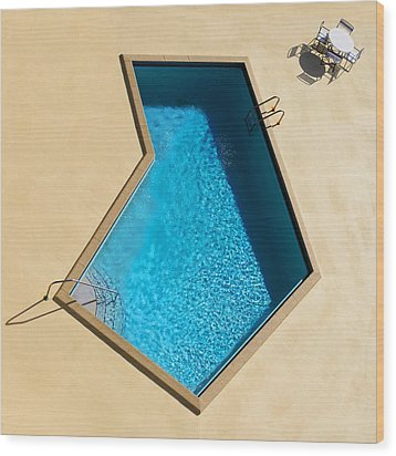 Wood Print featuring the photograph Pool Modern by Laura Fasulo