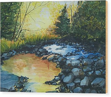 Wood Print featuring the painting Pool Of Gold by Lynn Babineau