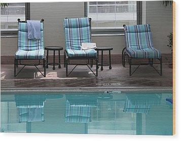 Pool Time Wood Print by Lauri Novak