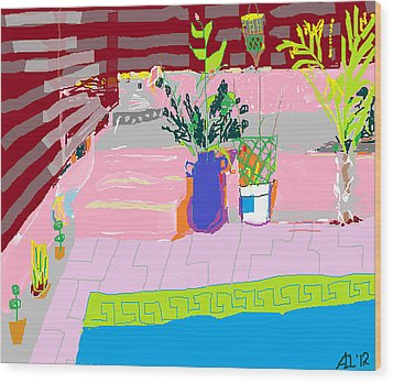 Wood Print featuring the painting Poolside by Anita Dale Livaditis