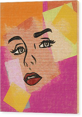 Wood Print featuring the mixed media Pop Art Comic Woman by Dan Sproul