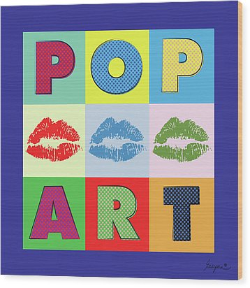 Pop Art Lips Wood Print by Gary Grayson