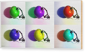 Wood Print featuring the photograph Pop-art Tomatoes by Shawna Rowe