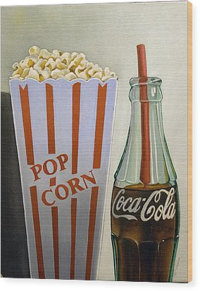 Popcorn And Coke Wood Print by Vic Vicini