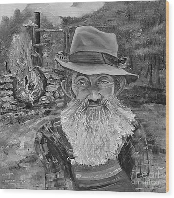 Popcorn Sutton - Black And White - Rocket Fuel Wood Print by Jan Dappen
