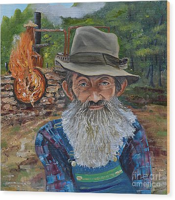 Wood Print featuring the painting Popcorn Sutton - Rocket Fuel -white Whiskey by Jan Dappen