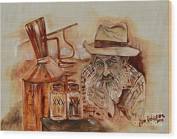 Wood Print featuring the painting Popcorn Sutton - Waiting On Shine by Jan Dappen