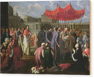 Pope Clement Xi In A Procession In St. Peter's Square In Rome Wood Print by Pier Leone Ghezzi