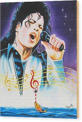 Wood Print featuring the painting Popking Michael Jackson by Ragunath Venkatraman