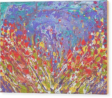 Poppies Abstract Meadow Painting Wood Print