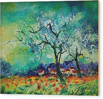 Poppies And Appletrees In Blossom Wood Print by Pol Ledent