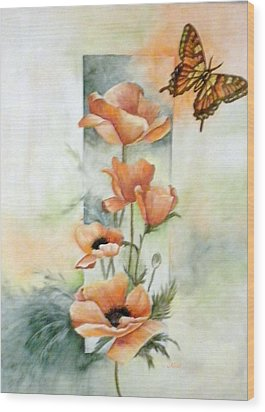 Poppies And Butterfly Wood Print