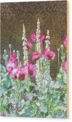 Poppies And Verbascum 2 Wood Print by Shirley Stalter