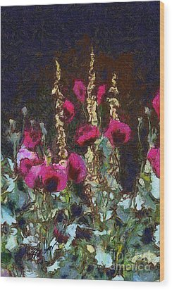Poppies And Verbascum Wood Print by Shirley Stalter