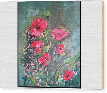 Poppies Wood Print by Angela Puglisi