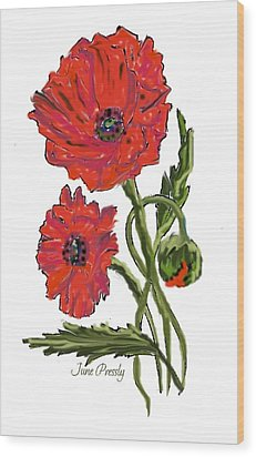 poppies by June Pressly Wood Print by June Pressly